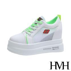 【HMH】潮流透氣網面撞色拼接個性厚底內增高休閒鞋 白綠
