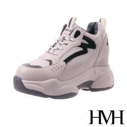 【HMH】流線網布拼接時尚潮流內增高運動休閒鞋 米