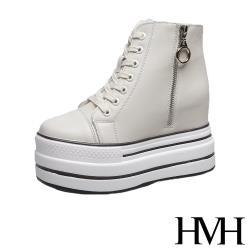 【HMH】經典百搭鬆糕厚底內增高拉鍊造型休閒鞋 米