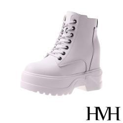 【HMH】百搭經典潮流厚底內增高短筒馬丁靴 白