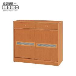 Birdie南亞塑鋼-3.9尺線條紋橫飾條二推/拉門二抽防水塑鋼鞋櫃(木紋色)