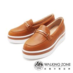 WALKING ZONE (女)金屬扣厚底樂福鞋鬆糕鞋-棕(另有米)