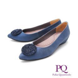 PQ (女) 尖頭圓扣娃娃鞋 女鞋 -灰藍(另有水藍)