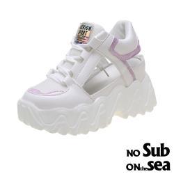 【NO SUB】透氣縷空淡雅色系拼接厚底休閒鞋 紫