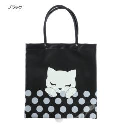 【Pooh Chan-噗將閉眼貓】立體小尾巴大SIZE提袋包-黑BLACK