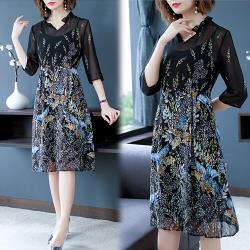 【K.W.韓國】(現貨)輕柔時髦立領修身兩件式洋裝