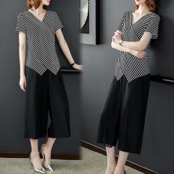 【K.W.韓國】(現貨)韓時尚條紋兩件套洋裝