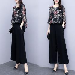 【K.W.韓國】 (預購) 優雅作風完美印花套裝褲