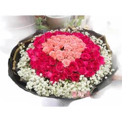 【馨花漾】想見你長長久久99朵雙色玫瑰鮮花束(情人節/生日/紀念日)
