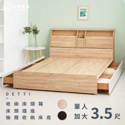 【本木】黛蒂 20cm收納插座房間二件組-單大3.5尺 床頭+三抽床底(含尾片)