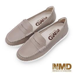 【Normady 諾曼地】經典款知性懶人樂福磁石內增高厚底氣墊球囊真皮鞋-MIT手工鞋(奶茶棕)