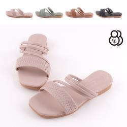 【88%】2cm涼鞋 皮革一字寬帶 方頭平底兩穿涼拖鞋 MIT台灣製