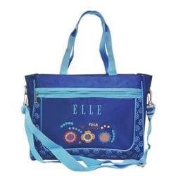 【ELLE Petite】彩色小花系列橫式補習袋/肩背包/手提袋_藍色