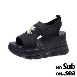 【NO SUB】刺繡花朵造型彈力飛織厚底休閒涼鞋 黑