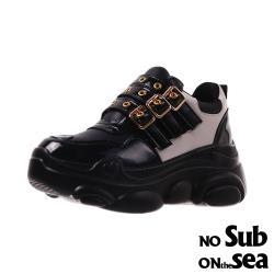 【NO SUB】時尚鉚釘皮帶釦復古造型厚底老爹鞋 黑