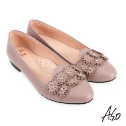 A.S.O-時尚流行 健步通勤氣質水鑽花朵平底鞋-淺紫