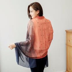 【Emi艾迷】簡約條紋漸層變色韓國棉披肩薄圍巾 (橘)