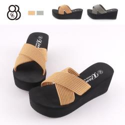 【88%】前3後6.5cm厚底拖鞋 針織條紋寬帶 圓頭楔型厚底 涼拖鞋
