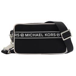 MICHAEL KORS KENLY 尼龍皮飾邊斜背雙層相機包.黑白