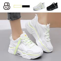 【88%】5.5cm休閒鞋 網格 雛菊螢光 圓頭楔型厚底 綁帶運動休閒鞋 老爹鞋
