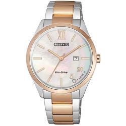 CITIZEN 星辰PAIR 對錶女仕雙白蝶貝優雅腕錶34.5mm(EW2456-88D)