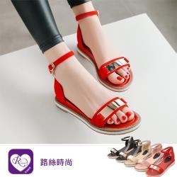 【iRurus 路絲時尚】韓系甜美浪漫亮面一字扣磨砂麂皮涼鞋/5色/35-43碼 (RX1150-Y600) 零碼促銷