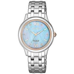 【CITIZEN 星辰】LADYS優雅白蝶貝鑽石女仕腕錶-天空藍(EM0726-89Y)