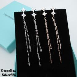 【海洋盒子】輕巧雙菱形鋯石流蘇設計純銀耳環《925純銀外鍍專櫃級正白K》