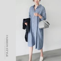【GF 快時尚】簡約翻領條紋排扣襯衫洋裝 (S-XL)