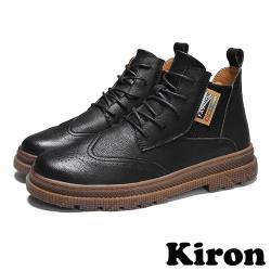 【Kiron】復古布洛克雕花元素拼接彈力織帶牛津鞋 黑
