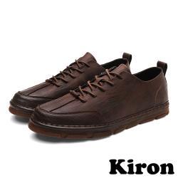【Kiron】復古質感皮革時尚經典休閒鞋 棕
