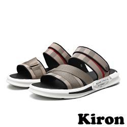 【Kiron】兩穿法時尚運動風格紋拼接休閒涼拖鞋 棕