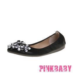 【PINKBABY】金屬亮皮立體鑽花造型尖頭低跟摺疊便鞋 黑