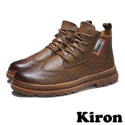 【Kiron】復古布洛克雕花元素拼接彈力織帶牛津鞋 棕