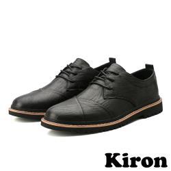 【Kiron】質感皮紋折疊拼接復古休閒牛津鞋 黑