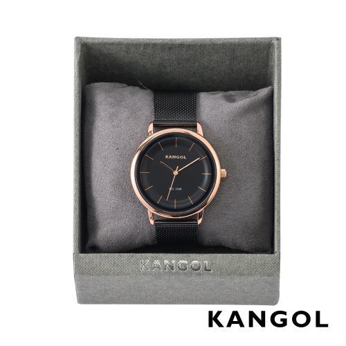 KANGOL弧形流線時尚腕錶38mm米蘭帶(黑)-玫瑰金框KG71238/