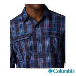 Columbia 哥倫比亞 男款-防曬UPF50快排襯衫-藍色格紋 UAE06490VC