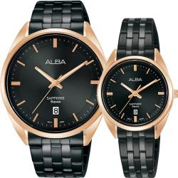 ALBA 雅柏 簡約設計情侶手錶 對錶 VJ42-X303SD+VJ22-X323SD
