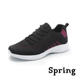 【SPRING】撞色縷空彈力飛織舒適輕量軟底運動鞋 黑紫