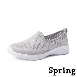 【SPRING】舒適縷空彈力飛織超軟底時尚休閒鞋 灰