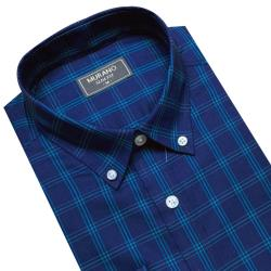 【MURANO】SLIM FIT 長袖襯衫-深藍格