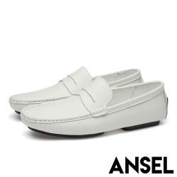 【Ansel】真皮頭層牛皮時尚經典百搭休閒樂福鞋 白