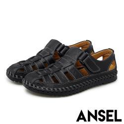 【Ansel】真皮復古編織魔鬼粘個性舒適羅馬涼鞋 黑
