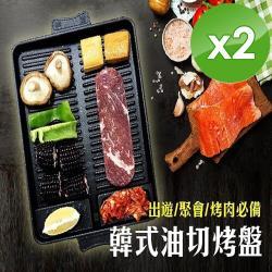 小魚嚴選 韓式麥飯石不沾低油煙烤盤-2入組