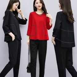 麗質達人 - 15630圓領上衣+長褲二件套-二色