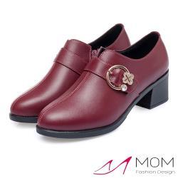 【MOM】真皮細緻牛皮美鑽花朵皮帶釦飾深口氣質粗跟踝靴 酒紅