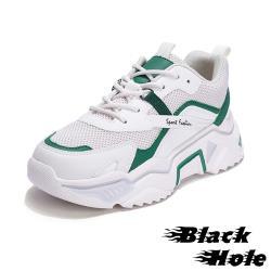 【Black Hole】真皮網布撞色拼接時尚厚底個性老爹鞋 綠