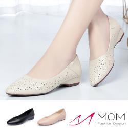 【MOM】真皮細緻牛皮花型百搭通勤低跟鞋(2款任選)