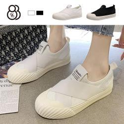 【88%】2.5CM休閒鞋 奶油鞋頭 彈力布率性百搭 繃帶設計 平底圓頭包鞋 2色