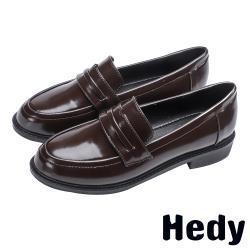 【Hedy】百搭復古經典便士粗跟通勤樂福鞋 棕